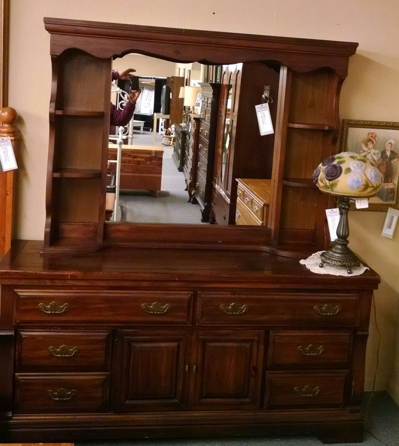 Pine Dresser Hutch Mirror Delmarva Furniture Consignment
