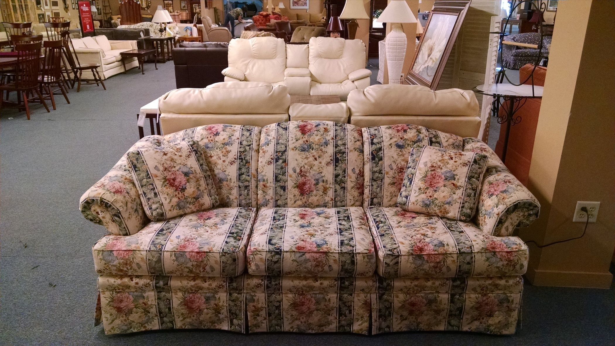 century upholstered couch modern sofa mid chairish product vintage floral